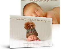 Boy Birth Announcement Card - Simply Baby Nicholas - (2) Press Printed 5x7 Flat Photoshop Card Templates for Photographers and Scrapbookers.
