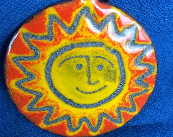 Vintage Smiling Sun Necklace Pendant Super Sweet & Made of Metal and Enamel Paint 60s 70s Retro Jewelry