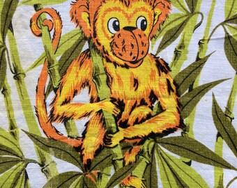Vintage Monkey & Bamboo Linen Tea Towel Kitchen Dish Cloth Retro 60s 70s Modern