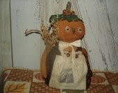 Trudy Pumpkin Doll, Stumpy Doll, Primitive, Rustic, Fall, Halloween, Thanksgiving, Doll, Ofg, Faap, Hafair, Dub
