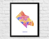 Arlington VA Art Map Print.  Color Options and Size Options Available.  Map of Arlington.