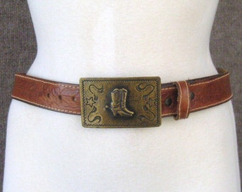 Vintage Brown Leather Belt & Metal Buckle Western Boots + Spurs, 70's 80's Top Stitched Cowhide, Rockabilly Rodeo Cowgirl, Waist 28 to 30