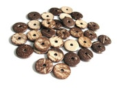 40 Wood CocoNut Shell Beads - Chocolate brown - Eco Friendly Flat Round Bead 15mm  (PC213A)