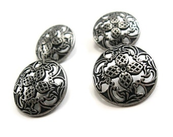 Silver Shank Sewing Buttons Filigree Flowers 23mm  (BM105)