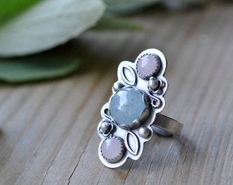 Sterling Aquamarine Rose Quartz Ring, Oxidised, Sterling Silver Gemstone Ring - Flora Ring in Pastels