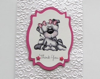 Thank you cards - dog thank you card - Greeting Cards - handmade cards - embossed card - hand crafted card - white card - hot pink