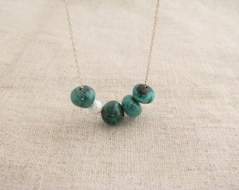 Turquoise Necklace Turquoise and Sterling Silver Necklace Asymmetrical Turquoise Necklace