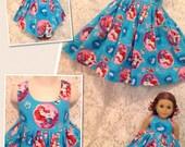 CUSTOM SIZES * Disney Ariel Little Mermaid * Matching dress child 2 3 4 5 6 7 8 & American Girl Doll, Bitty Baby, My Twinn - sbr
