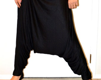 Topsycurvy Beautiful black Harem Pants - Made to order - Unisex/ Organic Cotton/ Bamboo Cotton/ Organic Clothing / Boho Pants / Yoga pants