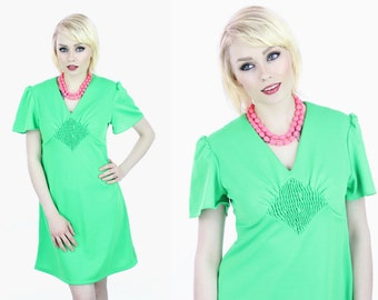 Mod Dolly Dress 70s Mini Babydoll Flutter Sleeves Sixties Lime Green 60s A-line Sexy 1960s 1970s Retro S M Small Medium