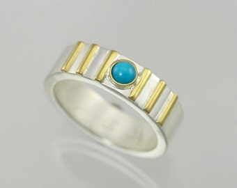 1 Stone w-6 Lines Ring 14K (Turquoise)