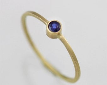 Sapphire Drop Ring in 14KY Gold