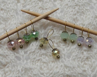 Knitting Stitch Markers - vintage glass crystals - snag free loops - cherry blossom assortment - rondelle crystal beads - set of 10