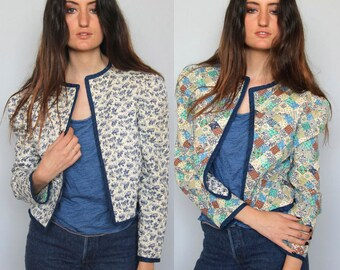 days of future past -- vintage quilted calico cotton reversible jacket S