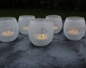 Elements Frosted Etched tea light alter lights Set Of 5