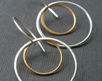 Hoop Mixed Metal Earrings- Sterling Silver and Gold Vermeil Hoops