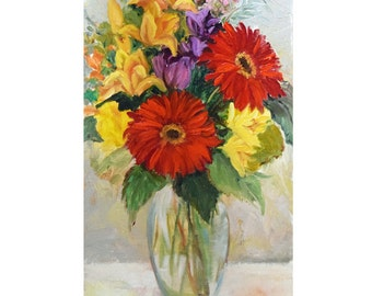 Still Life Floral, Mixed Flower Bouquet, Original Oil Painting by Cheri Wollenberg