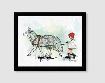 Fairytale Little Red Riding Hood Art Print 11X14 for home, bedroom or nursery decor