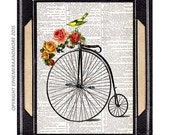Bicycle with Roses art print wall decor on upcycled vintage dictionary book page yellow bird antique retro bike illustration 8x10, 5x7