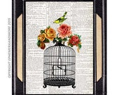 BIRD CAGE with Beautiful Yellow Bird art print Victorian wall decor on upcycled vintage dictionary text book page 5x7, 8x10