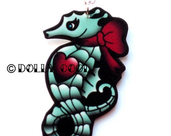 Seahorse Necklace by Dolly Cool Tattoo Style with heart and bow