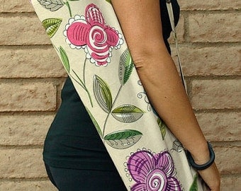 SPRING GARDEN Yoga Mat Bag Yoga Mat Tote Yoga Bag Yoga Tote Yoga Sling Yoga Sac Yoga Sack, Handmade, modern floral