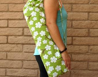 Yoga Mat Bag with Green cherry blossoms floral print handmade Yoga Tote, Yoga Bag, Yoga Sling, Yoga Sac, Sack, Gift For Her, Yoga Tote