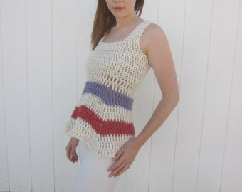 Hand Made Striped Cotton Crocheted Tank Top