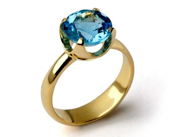 CUP Blue Topaz Engagement Ring, 14k Gold Blue Topaz Ring, Swiss Blue Topaz Ring, Statement Ring