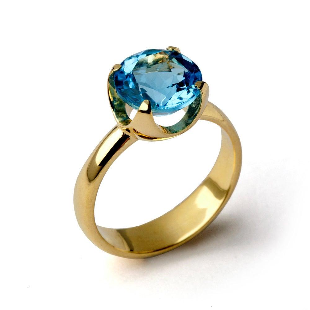 cup blue topaz engagement ring 14k gold blue topaz ring