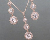 Rose Gold Bridal jewelry, Rose Gold Necklace, Rose Gold earrings, Wedding jewelry, Crystal necklace, Necklace set, Bridesmaid jewelry