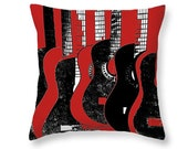 Guitar Art Pillow, Red And Black Art, Music Room Decor, Decorative Art, Stringed Instrument, Gift For Musician, Teenager Room Accessory
