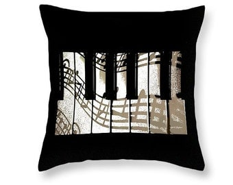 Piano Keyboard Pillow, Music Instrument Art, Black And White, Musician Home Decor, Dorm Room, Couch Cushion,Bedroom Accessory, Musician Gift