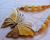 Golden Butterfly-stone and metal necklace, 22 1/2 inches or 57 cm.