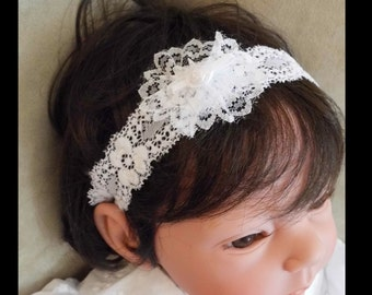 Headband to match any christening, baptism gown.