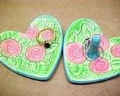 Pink Swirl Flowers | Trinket Dish | Heart Shape | Spring Green Leaves | Bridesmaid Gift | Turquoise Trim | Ring Dish