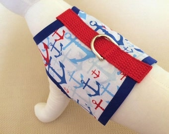 Blue, Red, And White Nautical Anchor Dog Harness Vest