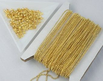 Gold Plated Ball Chain Bulk, 32 ft. spool of FACET micro ball chain - 1.2mm ball w/ FREE 100 connectors (Crimp Type)