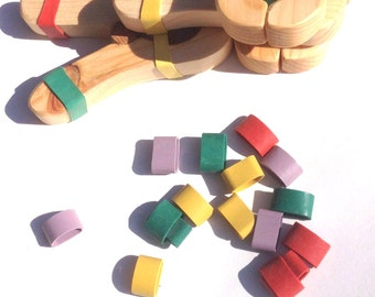 50 rainbow rubber bands for play clips