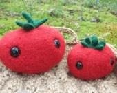 Tomato plush, toy tomato, Farmers' Market Friends, stuffed animal tomato toy, hand knit felted tomato toy, play food tomato, ready to ship!