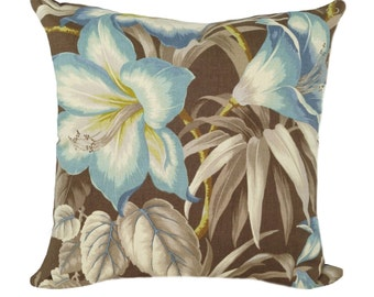 Floral Throw Pilllow, Tommy Bahama Botanical Glow - Nutmeg Floral Print Decorative Pillow - Free Shipping