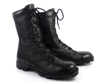 Combat Boots Vintage 1980s Black Leather Lace Up Grunge Men's size 5 1/2 N