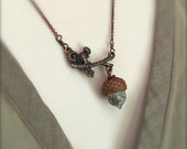 Mini Glass Acorn in Dappled Turquoise with Copper Squirrel Necklace - by Bullseyebeads