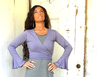 Bell Sleeve Bolero - Organic Fabric - Made to Order - Many Colors to Choose From