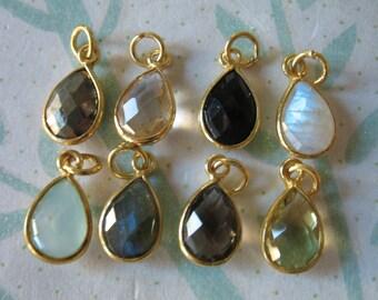 Shop Sale.. 1 2 5 10 pcs, Bezel Gemstone Pendants Charms Links Connector, 14x8.25 mm, 24k Gold Vermeil or Sterling Silver, GCP4