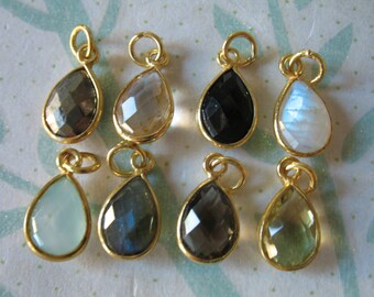 5 pcs, Gemstone Pendant Gemstone Charm, Bezel Charm Pendant, 24k Gold Vermeil or Sterling Silver, 14x8.25 mm, gcp4 gp