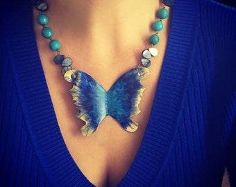 Tropical Butterfly - Cobalt Ocean Statement Artisan Necklace