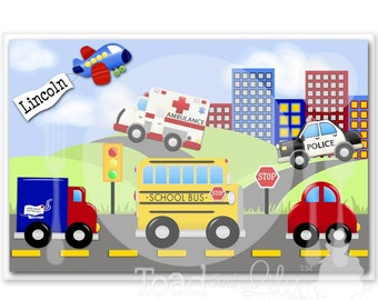 Kids PLACEMAT Transportation Vehicle Children's Personalized Wipe-able Place Mat Learn to Set the Table Laminated Kids Placemat with Name