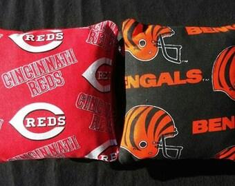 Cincinnati Reds and Bengals Cornhole Bags- FREE SHIPPING - Cornhole or Baggo Bean Bag Toss
