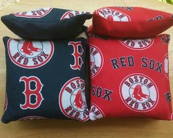Boston Red Sox FabricCornhole  Bags- FREE SHIPPING - Set of 8 Baseball Cornhole or Baggo Bean Bag Toss